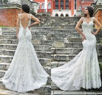 Cheap Elegant Beading Sweetheart Cap Sleeves Mermaid Wedding Dresses V Backless Court Train Vintage Lace Corset Formal Bride Gowns Customize