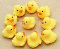 Unisex bathing baby boys - Wholesales x4cm Cute Baby Girl Boy Bath Bathing Classic Toys Rubber Race Squeaky Ducks Yellow Sale