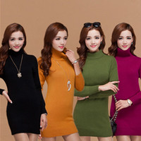 winter sweater for women - Turtle Neck Sheep Cashmere Sweater Pullover Dress For Women Girls Autumn Winter Knitting Outwear Fashion Cashmere Dress LM003