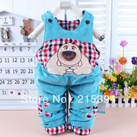 baby salopette - New Hot Sale Baby Winter Trousers Crystal Velvet Salopette For Newborn Bear Pattern Cotton Xmas Gifts New Year Presents