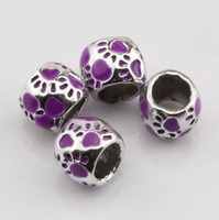 large hole beads - Hot Sell purple Enamel Footprint Large Hole Spacer Beads Fit Bracelet DIY Jewelry x10mm
