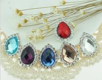 achat en gros de rhinestone # buttons-Teardrop Perles Crystal strass 20pcs Bouton Flatback Pour clip Scrapbooking bricolage Accessoires Cheveux