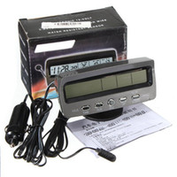 Wholesale Top Selling Special Offer Digital V Voltage Battery Monitor Alarm In Out Auto Car LCD Temperature Thermometer Time Clock