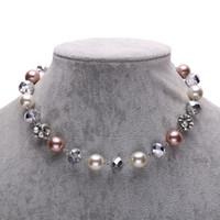 Perle collier pendentif Prix-Strass boule de verre perle colliers collier pour les femmes fashion bijoux courte pendentifs colliers inscription Livraison gratuite NL140038