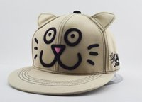 Wholesale new cute ears flat along the cartoon feline hats hip hop adult baseball caps ladies cotton casual style casquette