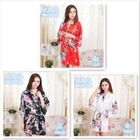 Wholesale Retail Red Black White Womens Solid royan silk Robe Ladies Satin Pajama Lingerie Sleepwear Kimono Bath