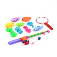 Wholesale 1Set Rod Fish Model Magnetic Fishing Game Toy Net Kids Children Bath Time Hot