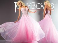 Wholesale Vogue Sweetheart Prom Dresses Sheath D Chiffon Crystal Beads Backless Sweep Train By Tony Bowls Collection Party Dress Pageant Gown