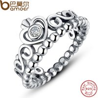Wholesale BAMOER Sterling Silver My Princess Queen Crown Stackable Ring with Clear CZ Authentic Jewelry PA7110