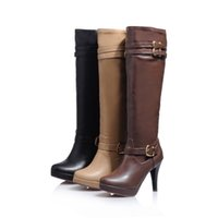 Wholesale Winter round waterproof boots high heeled Knight stiletto boots buckle and paint side zipper fashion boots