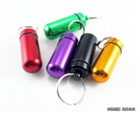 Wholesale Hot Aluminum middle waterproof Pill Box Case Bottle Holder Container Keychain New High Quality mm keyrings