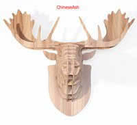 animal moose - Reindeer head for wall decoration wooden animals home decoration wood crafts christmas decor moose head for decoration carving