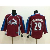 Wholesale Red Childrens Hockey Wears Avalanche Nathan MacKinnon Hockey Jersey High Quality American Hockey Jersey Top Sellers Youth Hockey Apparel