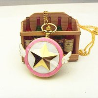 anime series watch - Famous Anime Series Card Captor Sakura Golden plated Tone Star With Wing Pocket Watch Necklace
