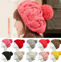 Wholesale Designer Womens Hand Knit Pom Cable Beanie Ladies Crochet Hats Woman Fancy Knitted Pompom Winter Rib Cap Head Warmer Solid Color For Sale