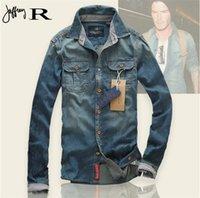 Wholesale Brand Clothing Light Blue Long Sleeve Vintag Camisa Wear Denim Shirt Men Slim Fit Casual Shirt Chemise Homme