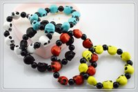Wholesale fashion Skull Heads beads string bracelet mix colors skull bracelets punk Personality of men women pcl