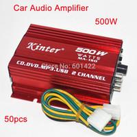 Wholesale 50pcs car audio amplifier W Channel Mini Hi Fi Stereo Audio Amplifier Amp Car Motorcycle Amplificador Red DHL