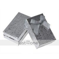 Wholesale 2x Paper Hard Box Case Jewelry Ring Gift Package Packaging Storage silver