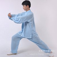 Wholesale and retail elegant clothes and cotton and tai chi clothing female light blue with martial arts clothing crotch