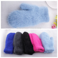 angora gloves - Angora wool blend warm mittens for Christmas gifts ST0001