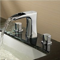 Wholesale Bathroom Widespread Waterfall faucet Polished Chrome Basin Sink Mixer Deck Mounted two Handles Waterfall Tap Torneira Banheiro