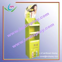floor stand display - point of sale flat packed custom size and printing three tiers flooring stand corrugated cardboard display