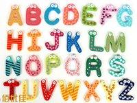 Wholesale 26pcs Fridge Magnet Child Colorful Letters shape Learning Wooden Magnetic Toddler Children Toys Study Alphabet