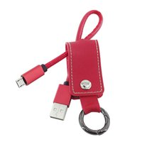 Wholesale fashion leather Key Chain Ring V8 Micro USB Data Sync Charging Cable Cord Charger for Samsung Galaxy HTC Nokia Cell phone