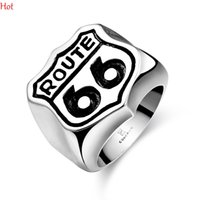 fashion jewelry usa - Stainless Steel Band Rings USA Biker Road ROUTE Ring For Men Motor Biker Mens Jewelry Fashion Punk Letters Finger Ring Silver GMYR171
