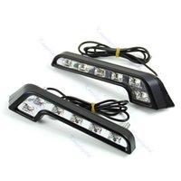 Cheap D191pair 6 LED White Universal Car Auto Driving Lamp Fog 12V DRL Daytime Running Light