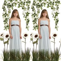Wholesale Cheap Little Girls Bridesmaid Dresses - Cheap Light Sky Blue Junior Bridesmaid Dresses Spaghetti Straps A Line Full Length Little Girls Party Dress with Brown Sash
