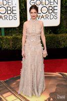amanda peet - High Neck Golden Globe Awards Evening Dresses A line Backless Ruched Satin Prom Gowns Amanda Peet Celebrity Dresses Prom Gowns