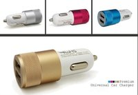 Wholesale Hot Aluminum material Dual Port Universal USB Car Charger For iPhone For Samsung Galaxy S4 S5 phone Charger