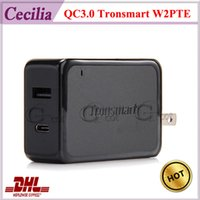 Wholesale 100pc DHL Quick Charge Type C Tronsmart W2PTE Ports QC3 VoltIQ USB Wall Charger Stand up Fast Wall Charger