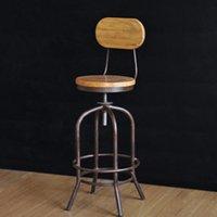 Wholesale industrial loft style wrought iron bar stools wood bar chair lift Elm rotation spot retro bar stool bar stool