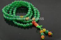 Collar de Mala del rezo de 6 mm 108 verde ágata del Onyx granos redondos del Tibet budista tibetano