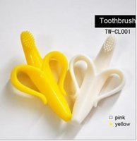 Wholesale With Package BPA Free High Quality Safe Softy Infant Banana Soothers Baby Teethers Teether Teething Banana Silicone Toothbrush