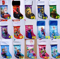 Wholesale Christmas stockings Tree party Decotation Cartoon Frozen Elsa Anna Xmas spider man car star wars socks children gifts bag candy pocket