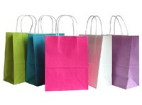 Cheap Party Paper Loot Bags - Wedding Favours- Birthday & Christmas Gift Bag Jelly Solid Color 20pcs lot 27x21x11cm 5colors