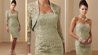 short strapless dress - 2015 Strapless Sheath Zipper Knee Length Mother Of The Bride Dress Short Formal Evening Gown LaceJacket