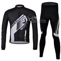 Wholesale New Arrival Scott Team Cycling Jersey Set Long Sleeve Black Shirt and Pants High Quality Team Cycling Clothing