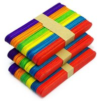 Cheap New 50Pcs set Wooden Popsicle Sticks Kids Hand Crafts Art Ice Cream Lolly Cake DIY Making