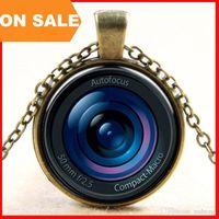 Wholesale 3D autofocus cameras lens necklace retro glass digital camera scene shot pendant time gem necklaces Art jewelry for women