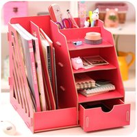 bamboo file cabinets - Wooden office desk box of large capacity multi file books shelf storage cabinets dormitory artifact