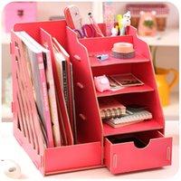 bamboo book shelf - Wooden office desk box of large capacity multi file books shelf storage cabinets dormitory artifact