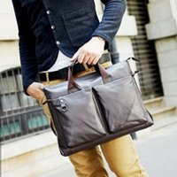 Wholesale 2014 New Brand Genuine Leather Men Briefcases Designer Zipper Briefcases For Men Casual Bussiness Men Bags