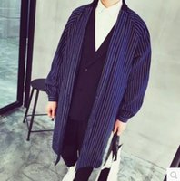 beautiful trench coat - Fall Fashion denim vertical stripe long design pull style trench male beautiful and high quality loose coat N32