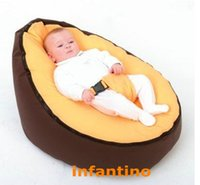 Wholesale brown yellow seat Zipper Baby Bean Bag Soft Sleeping Bed Portable Seat