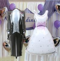 balloon wedding dress - set Bride and Groom Dress Shape Foil Balloons Cartoon Design Party Wedding Birthday Decoration BalloonToy